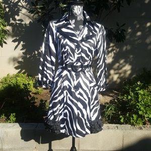 Bebe Cute Zebra Print Belted Trench Coat